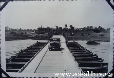 м.Сокаль, Кладка через Буг зі сторони Забужжя, зроблена німцями