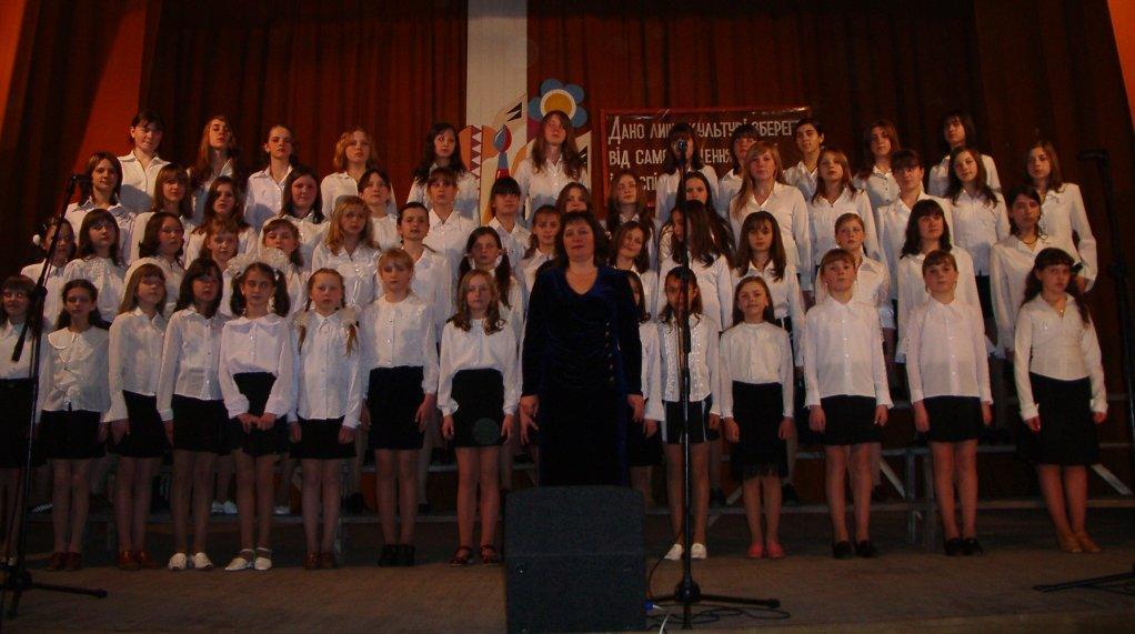 м.Сокаль, Творчий звіт«Боже Великий єдиний» (муз.М.Лисенка, сл.О.Кониського) у виконанні хору учнів старших класів.