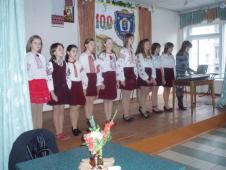 Жовтень 08. Посвята в соколята.Линуть вітання ансамблю дівчат